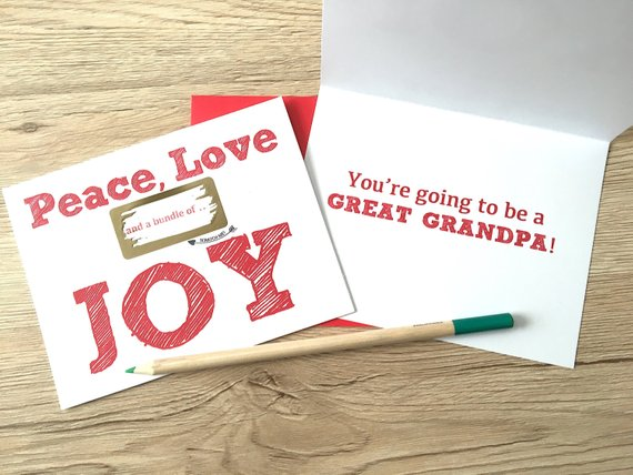 Peace, Love and a Bundle of Joy Scratch off for Grandpa