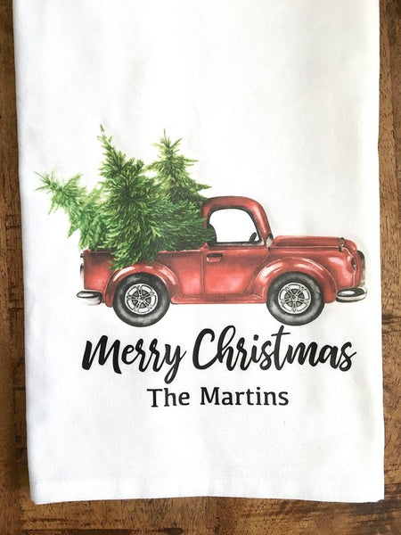 Personalized Watercolor Christmas Red Truck Tea Towel