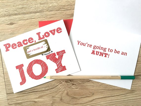 Holiday Baby Scratch off Card for Best Friend Peace Love and a Bundle of Joy