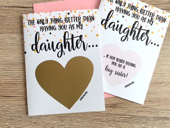 Big Sister Pregnancy Reveal to Daughter Scratch Off Card