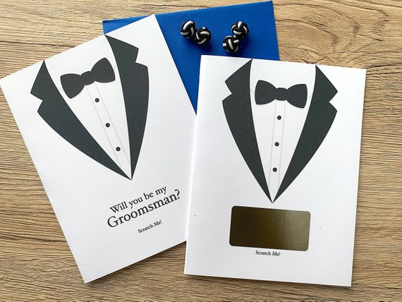 Tuxdeo Groomsman Proposal  Scratch Off Card