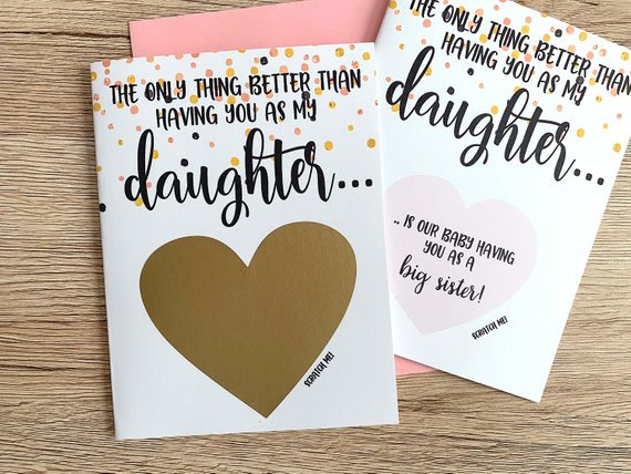 Pregnancy Reveal to Daughter Scratch Off Card