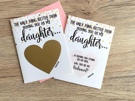 Will You Be My Bridesmaid Scratch Off Proposal for Daughter