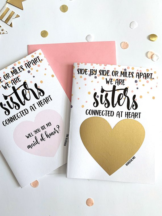 Long Distance Maid of Honor Scratch Off Proposal for Sister