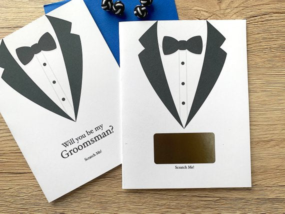 Groomsman Tuxdeo Scratch Off Proposal