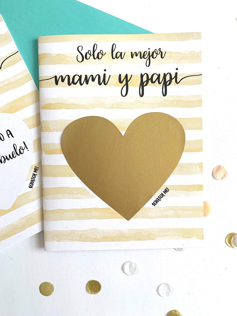 SPANISH Pregnancy Reveal Scratch Off to Mom and Dad