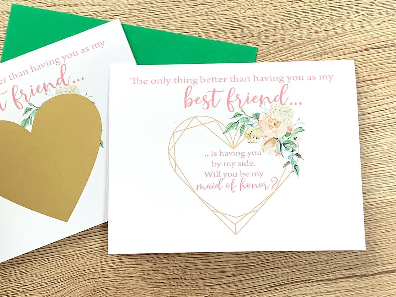 Best Friend Maid Of Honor Scratch Off Proposal Card