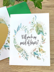 Green Floral Maid Of Honor Proposal Scratch Off Card