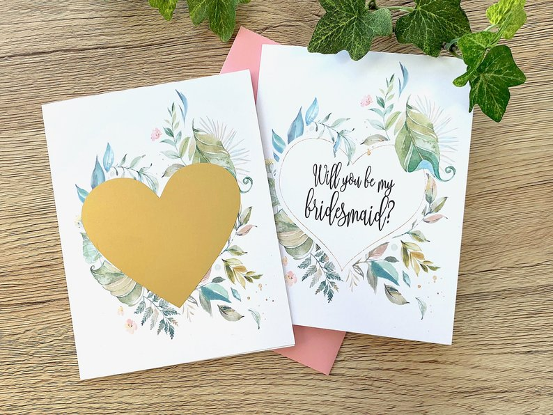 Green Floral Bridesmaid Proposal Scratch Off Card Nature