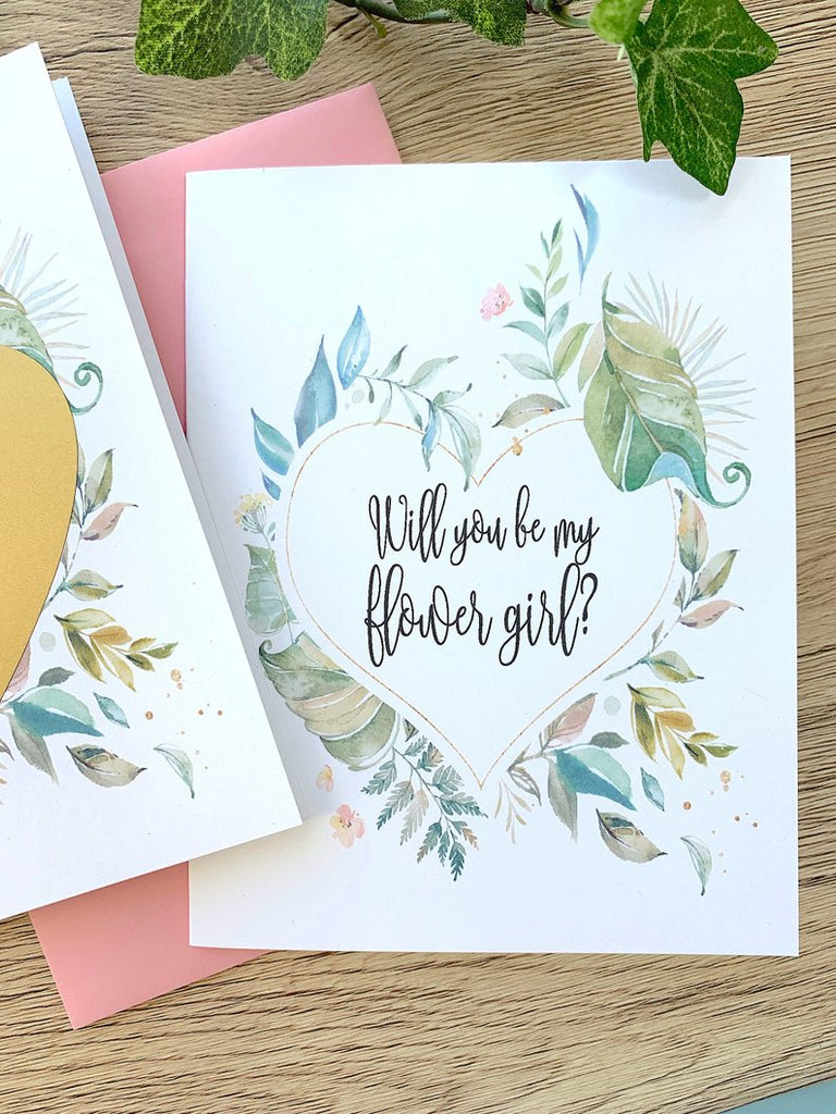 Rustic Greenery Will You Be My Flower Girl Proposal Scratch Off Card