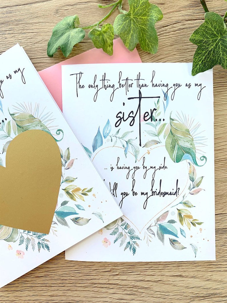 Sister Bridesmaid Scratch Off Proposal Rustic Greenery