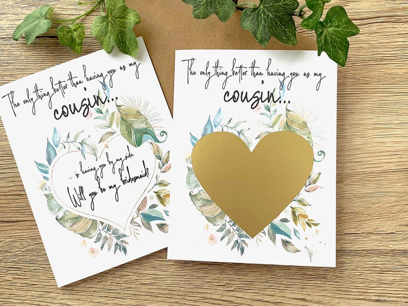 Cousin Bridesmaid Rustic Scratch Off Proposal Card