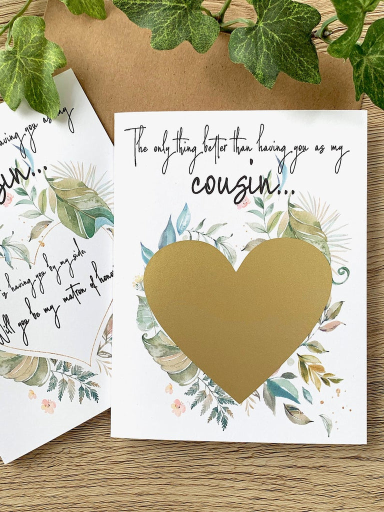 Rustic Watercolor Cousin Matron of Honor Proposal Scratch Off Card
