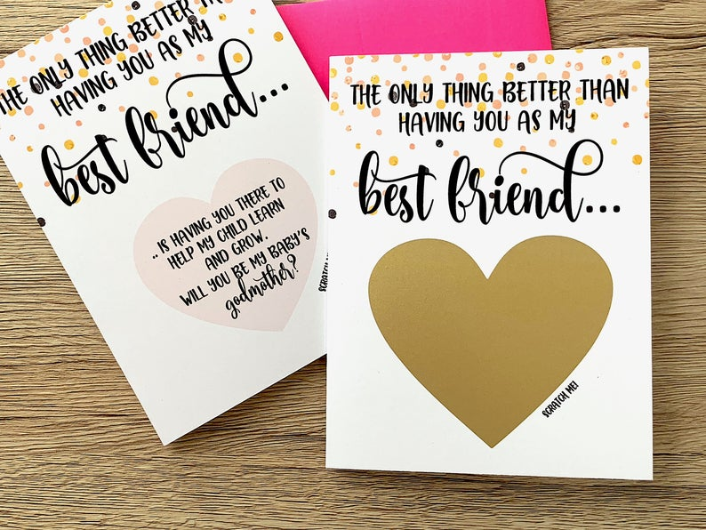 Best Friend Godmother Scratch Off Proposal Card