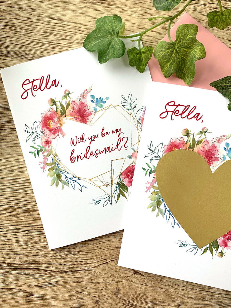Custom Pink Flowers Bridesmaid Scratch Off Proposal