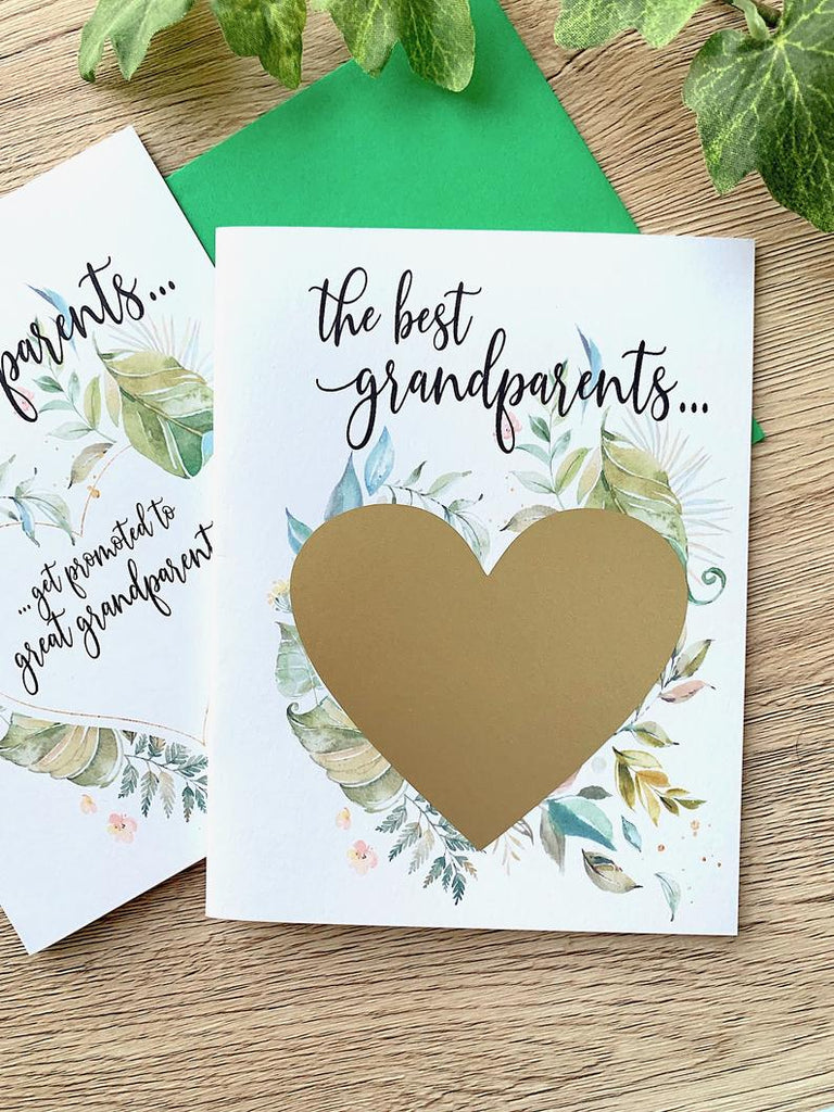Green Rustic Great Grandparent Pergnancy Scratch Off Card