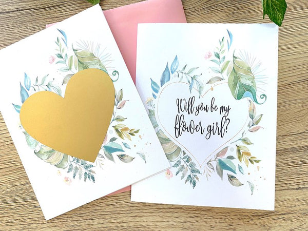Rustic Greenery Will You Be My Flower Girl Scratch Off Card