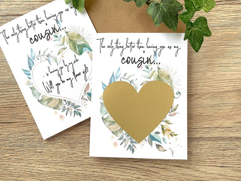 Lush Green Flower Girl Scratch Off Proposal for Cousin