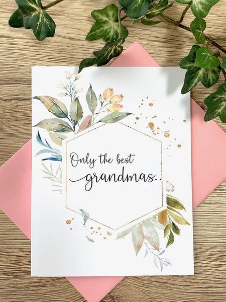 Foliage Baby Announcement for Grandma Card