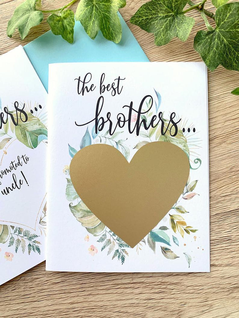 Scratch Off Pregnancy Announcement to Brother - Rustic Greenery