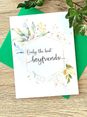 Boyfriends Get Promoted to Daddy Pregnancy Announcement Card Foliage