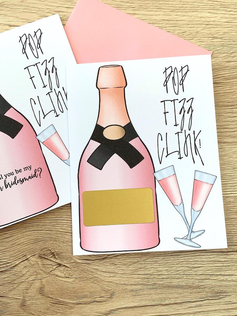 Pop Fizz Clink Junior Bridesmaid Scratch Off Proposal