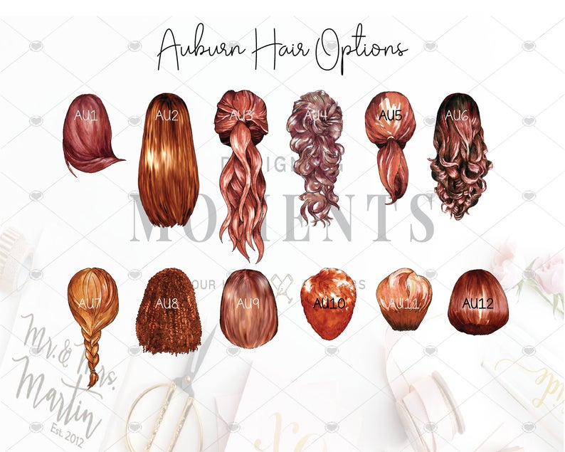 auburn hair options for custom portraits