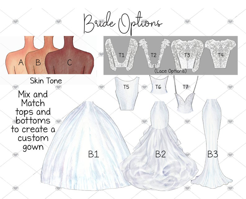 Bride options custom portraits