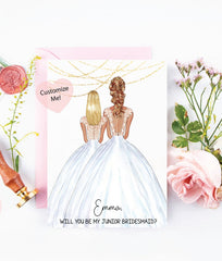 Will you be my junior bridesmaid? Personalized asking cards for your wedding day with custom portraits