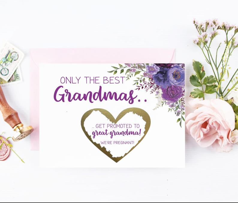 Gold foil scratch off purple for grandmas and great-grandmas-to-be