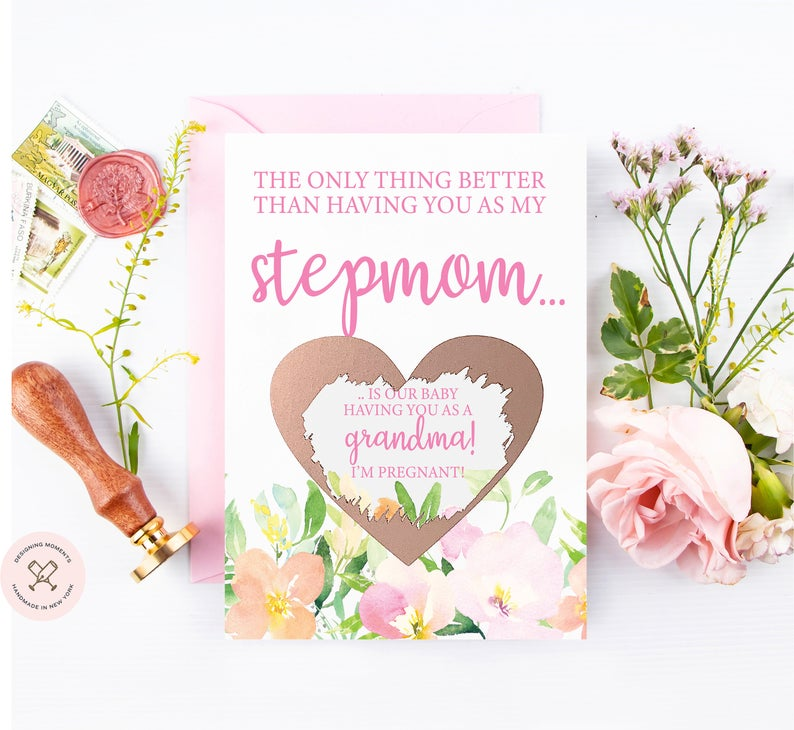 Premium pink card with pastel watercolor florals stepmom