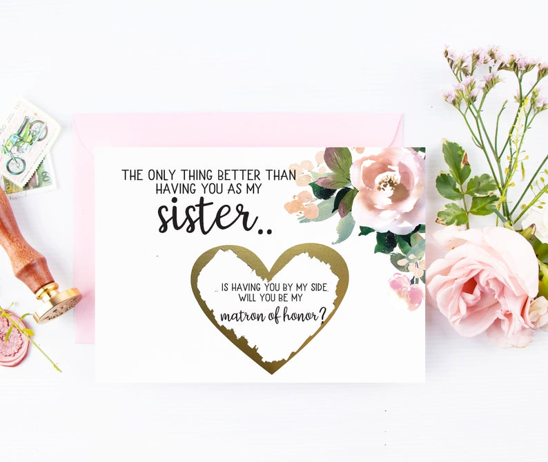 Matron of honor sister asking card gold scratch off