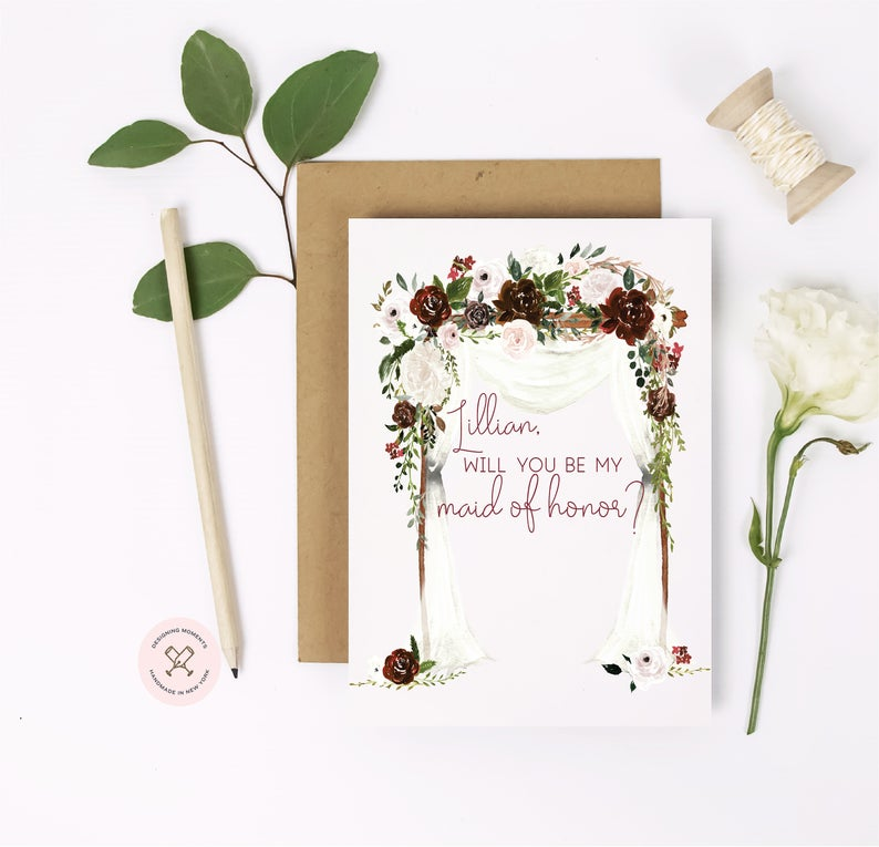 Will you be my maid of honor? Premium cards with dramatic burgundy maroon florals