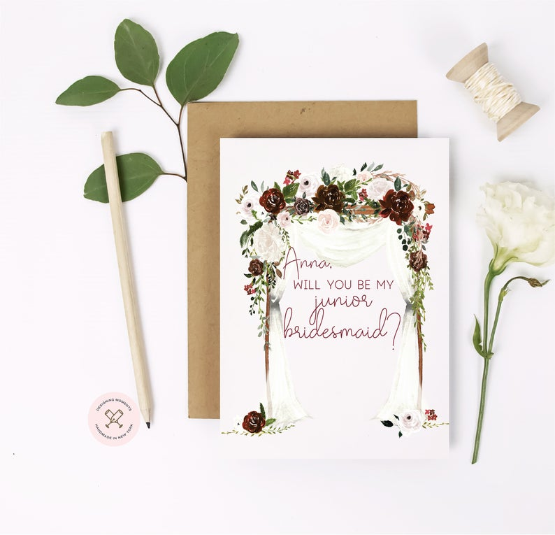 Junior bridesmaid asking card with personalized name