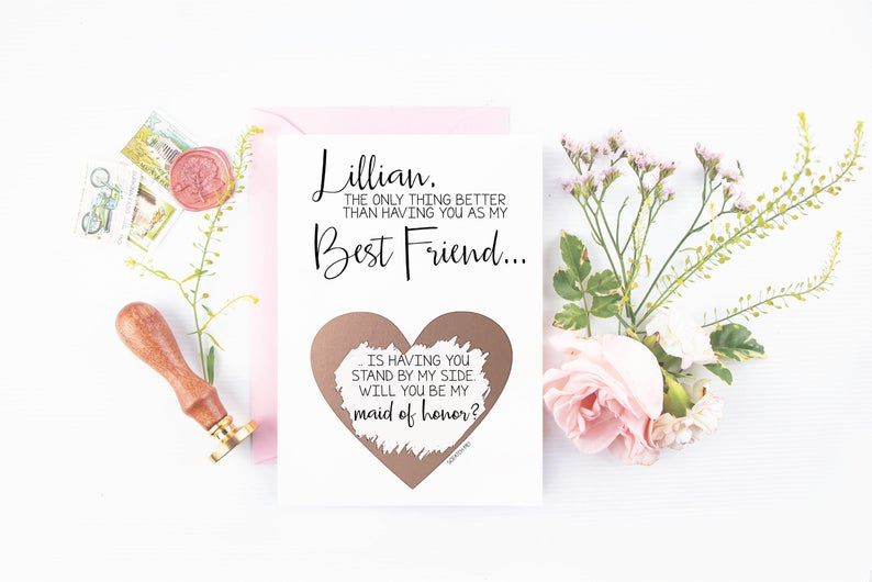 Maid of honor proposal card for best friend