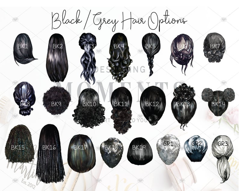 black grey hair options custom portraits