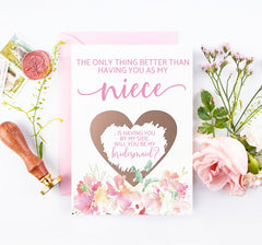 Bridesmaid and junior bridesmaid asking card for niece