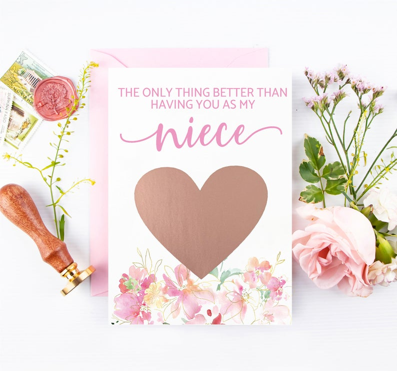 Rose gold scratch off with beautiful watercolor florals