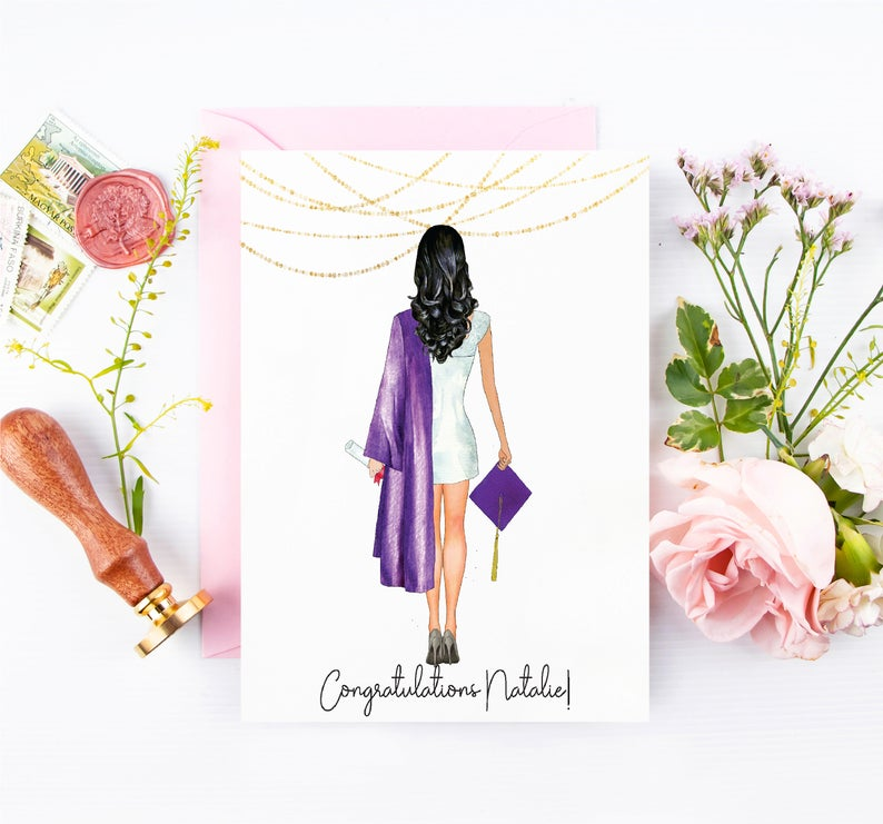 Customized graduation card for her high school college graduation