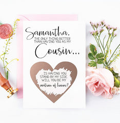 Will you be my matron of honor cousin scratch off card