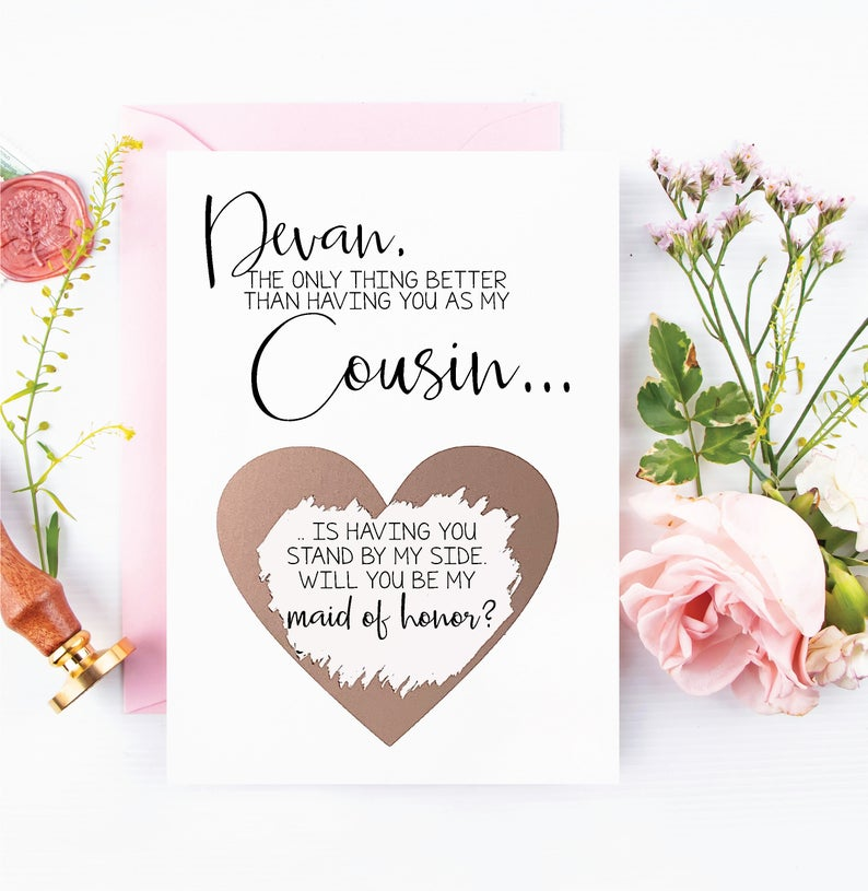 Cousin Will you be my Bridesmaid Proposal Rose Gold Scratch Off