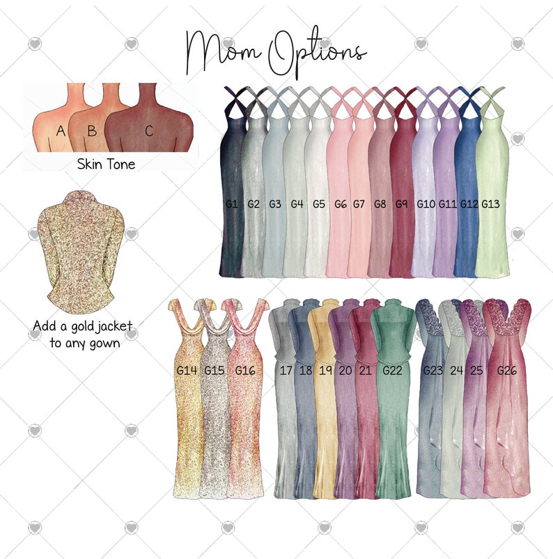 Mom mother of the bride dress and body customization options