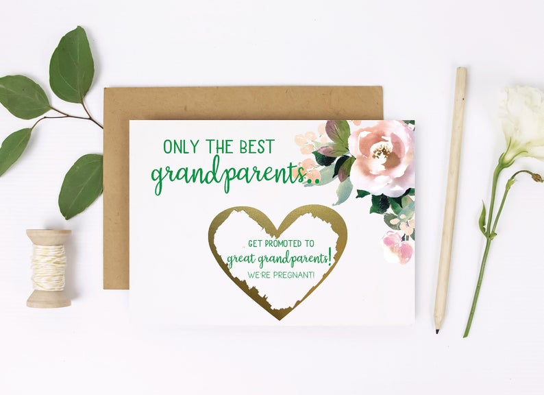 Emerald and dusty rose pregnancy announcement card