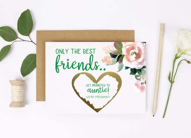 Premium card for best friends scratch off pregnancy reveal