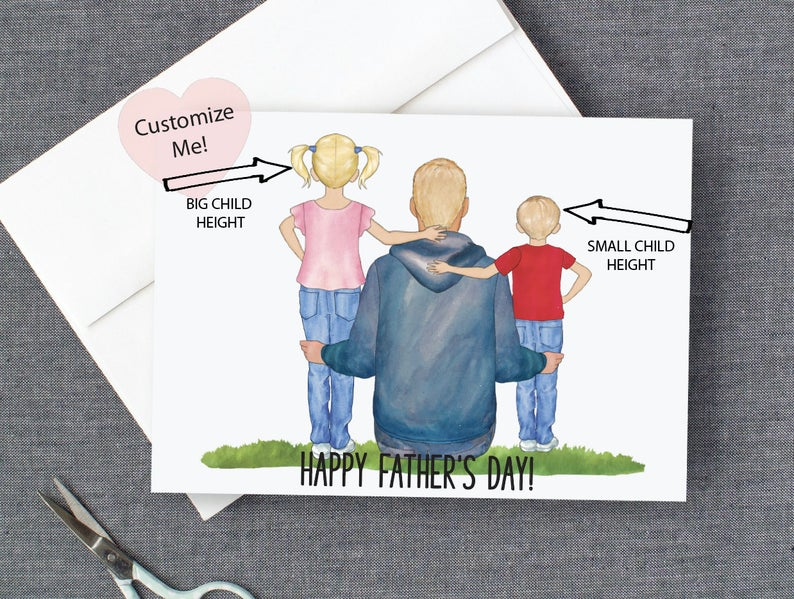 Personalized card for dad from the kids premium cards