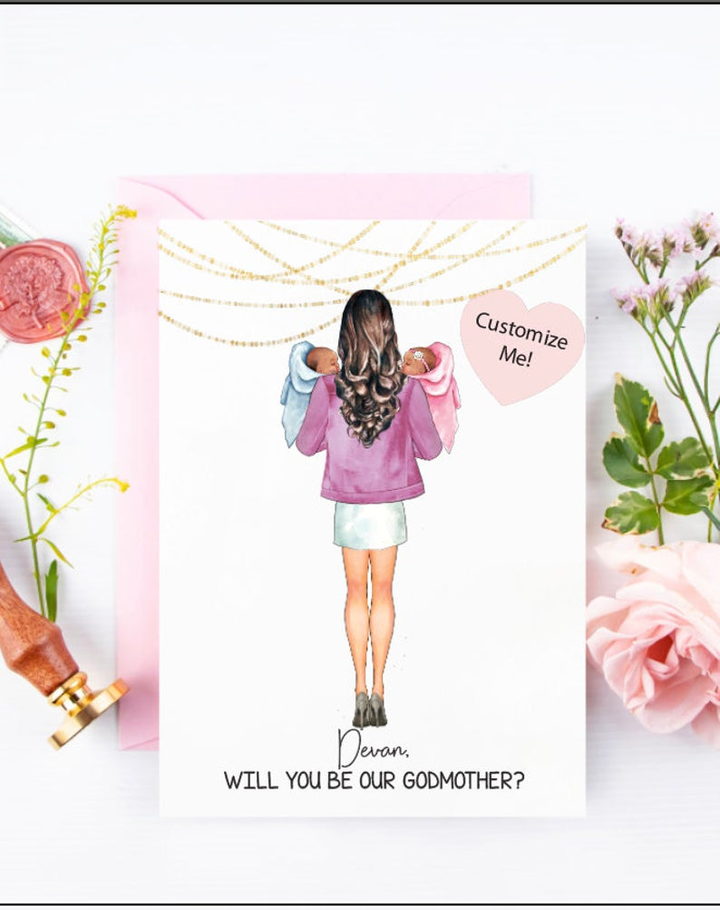 Will you be our Godmother? Custom godmother proposal card for twin babies and best friend