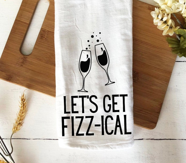 Let's get fizz-ical brunch tea towel