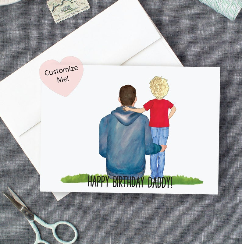 Happy birthday card for dad from son personalized custom card