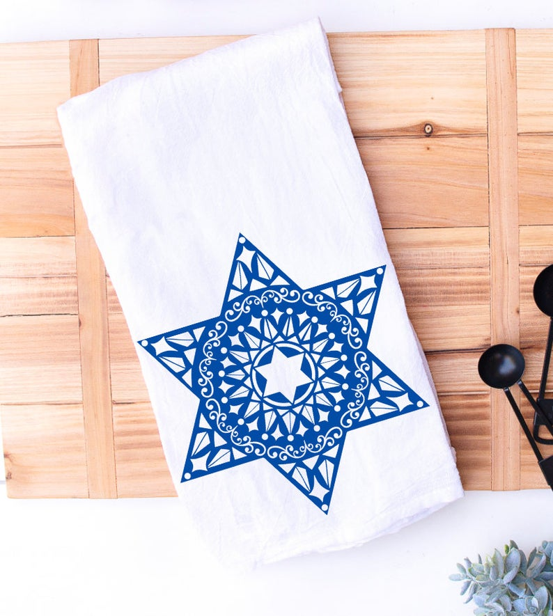 jewish star of david kitchen towel