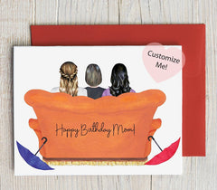Custom Friends Couch Birthday Card for Mom/Bestie
